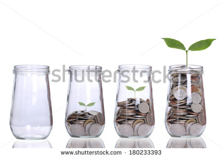Stock photo money growing plant step with deposit coin in bank concept 180233393 1